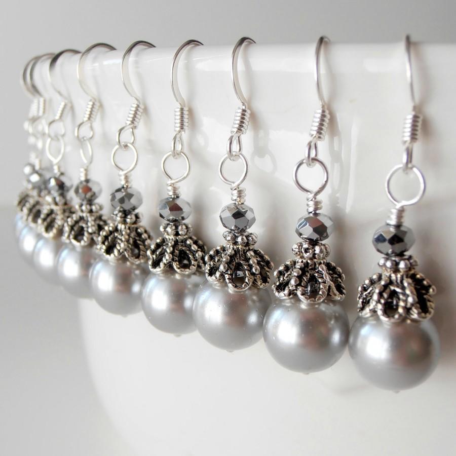 Mariage - Grey Pearl Earrings, Bridal Pearl Drop Earrings, Bridesmaid Earrings, Silver Pearl Wedding Jewelry, Bridesmaid Pearl Dangles