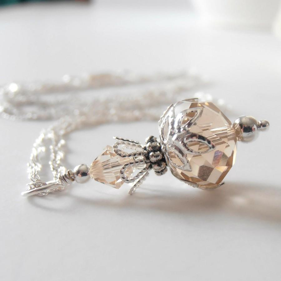 Mariage - Champagne Bridesmaid Crystal Pendant Necklace Bridesmaid Jewelry Crystal Wedding Jewelry Bridesmaid Necklace Beige Crystal Bridal Jewelry
