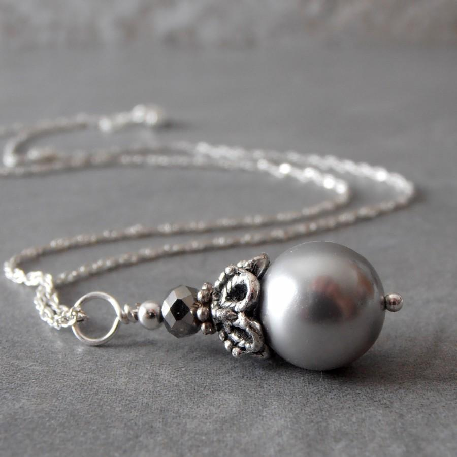 Mariage - Gray Pearl Bridesmaid Necklace, Beaded Pendant, Bridal Jewelry, Silver Pearl Necklace, Grey Wedding Jewelry, Maid of Honor Gift