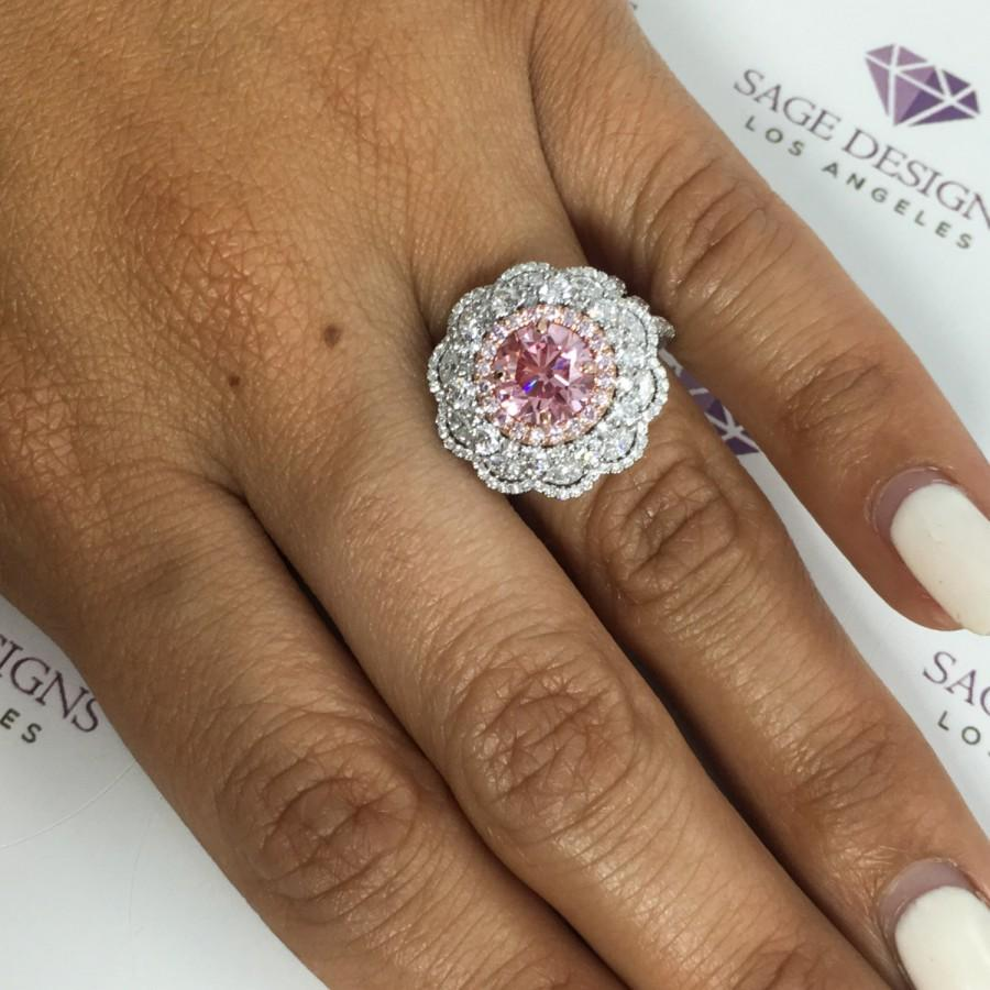 Mariage - One Of A Kind Engagement Ring, Pink Diamond Halo Wedding Ring GIA Certified Fancy Vivid Pink Diamond 3.72 TCW VVS2 Round 18K White Gold Ring