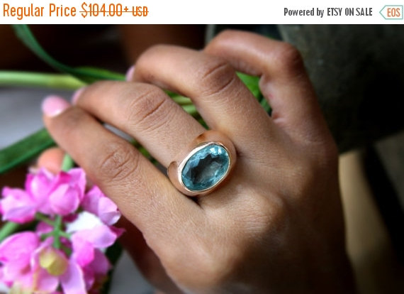 Wedding - WINTER SALE - blue topaz ring,thick gemstone ring,semiprecious ring,large statement ring,rose gold ring,pink gold band