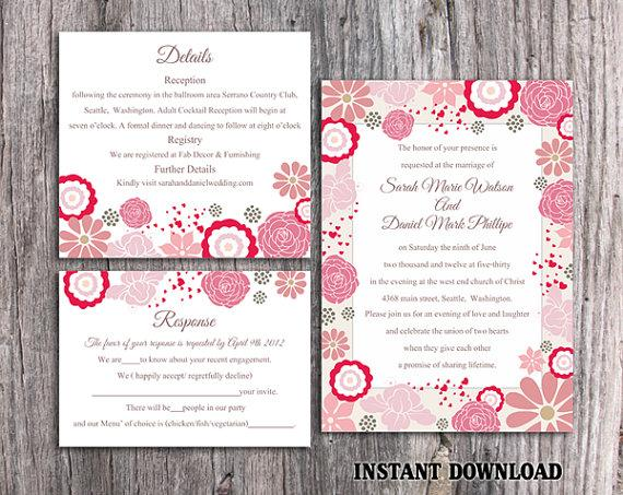 Wedding - DIY Wedding Invitation Template Set Editable Word File Instant Download Pink Wedding Invitation Coral Floral Invitation Printable Invitation