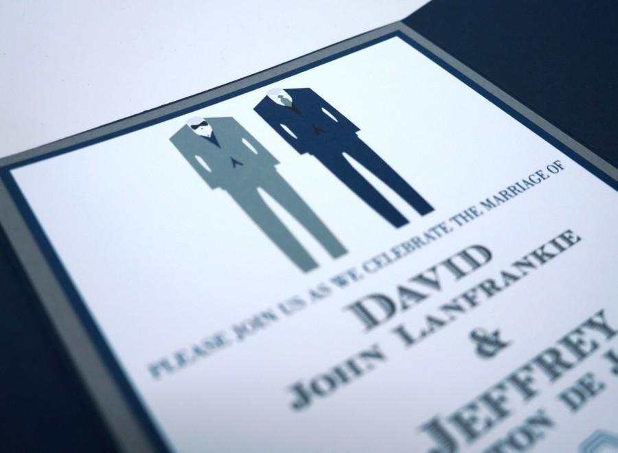 Hochzeit - Two Suits Formal Pocket Fold Wedding Invitations