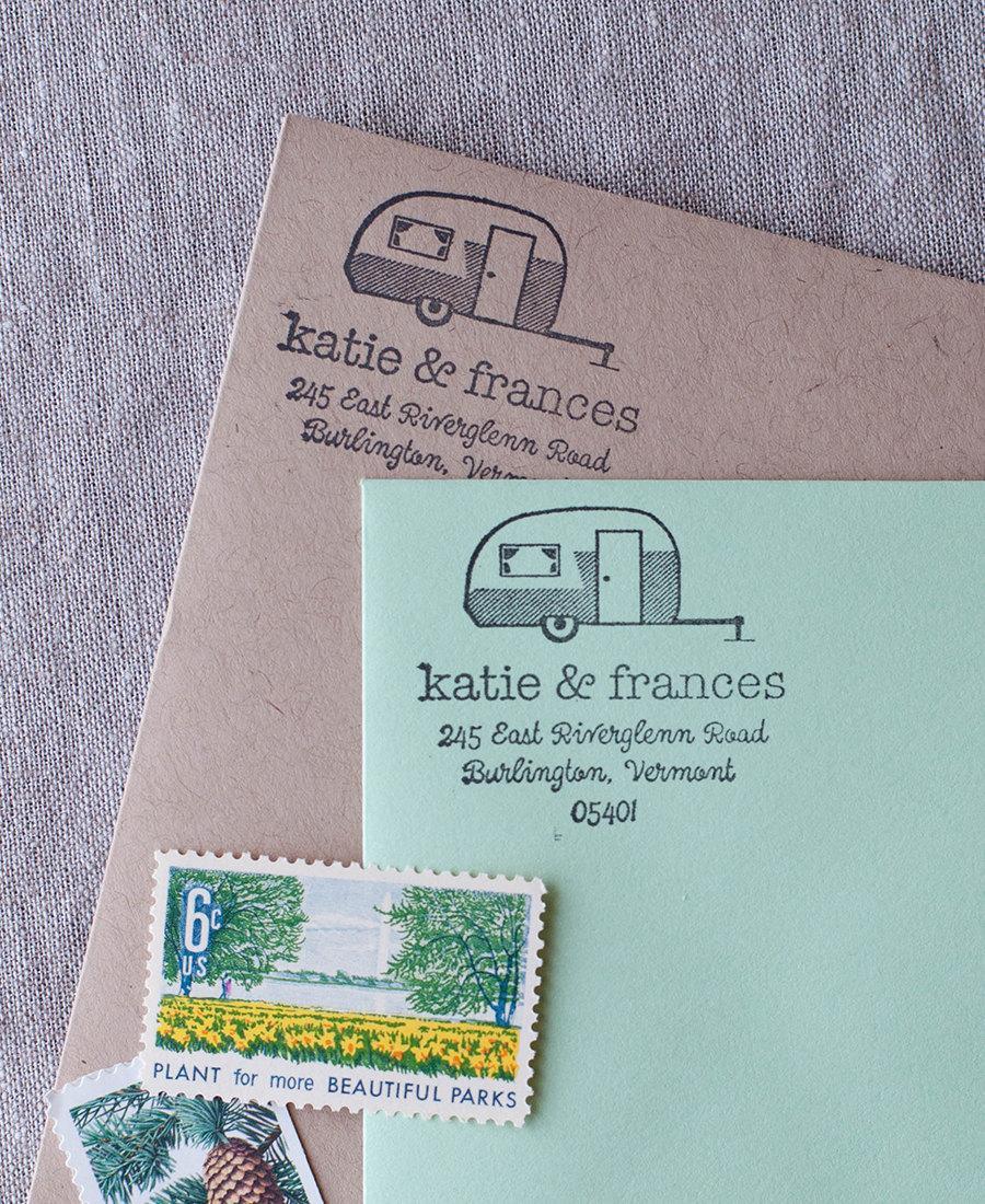 Hochzeit - Rustic return address stamp - vintage camper illustration wedding stamp with wood handle Personalized Stamp address label, self inking