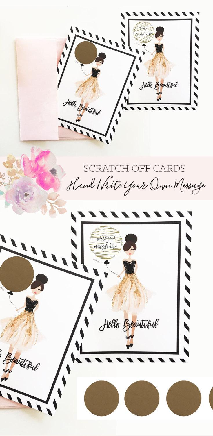 Düğün - Bridesmaid Cards - Will you be my Bridesmaid Scratch Off Bridesmaid Scratch Off Cards ( EB3186) - set of 4 cards w/ envelopes