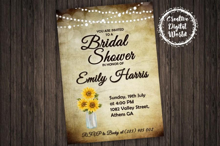 Wedding - Bridal Shower Invitation Sunflowers Paper String Lights Sunflower Personalized Printable Rustic Mason Jar Wedding Country Romance Download