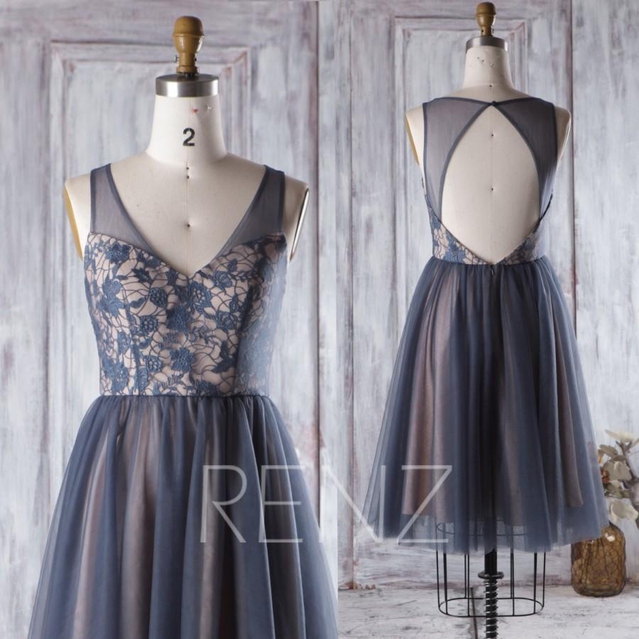 Wedding - 2017 Navy Blue Bridesmaid Dress, V Neck Lace Wedding Dress, A Line Cocktail Dress, Short Mesh Prom Dress, Open Back Evening Dress (HS272)