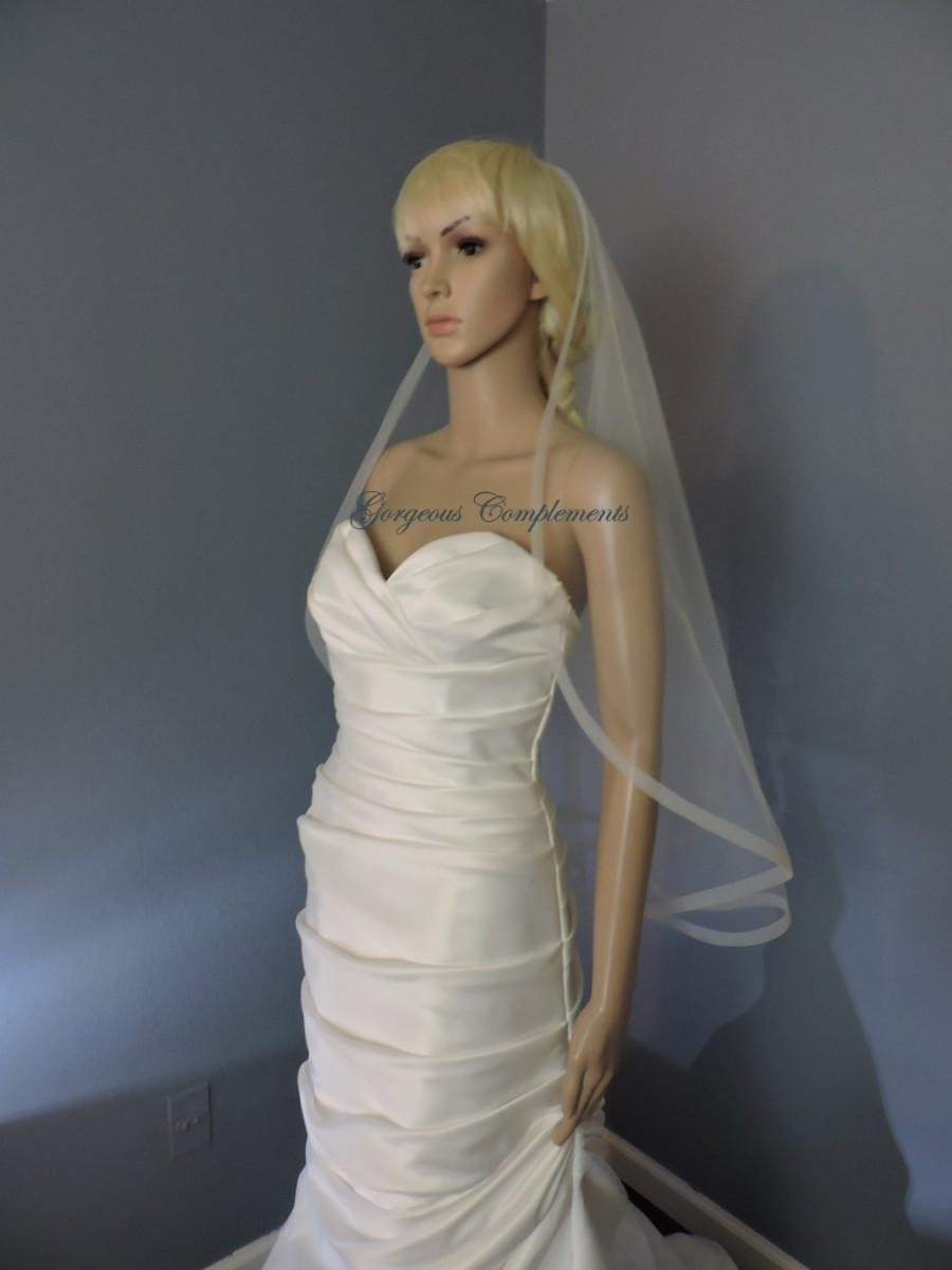 Mariage - Single Tier Horsehair Trim Wedding Veil , Bridal Veil