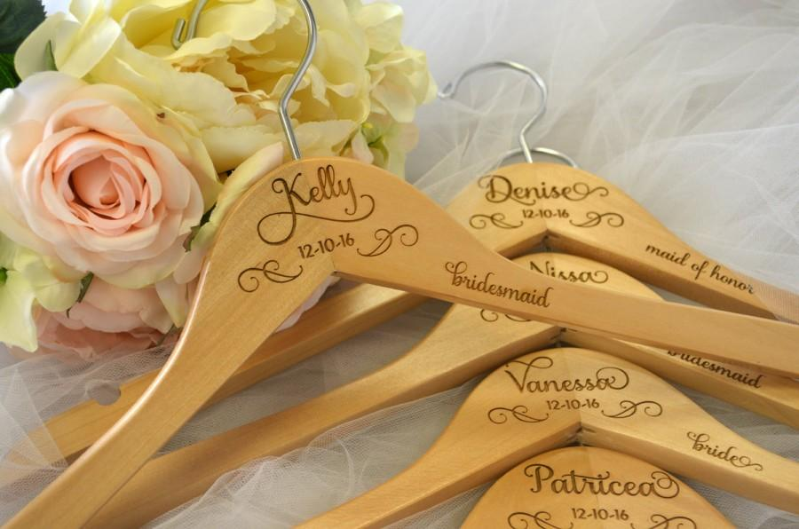 Hochzeit - 6 Bride Hangers, Wedding Dress Hanger, Personalized Hanger, Mrs Hanger, Bridesmaid Hangers, Wedding Hanger, Name Hanger, Bridal Hanger, Gift