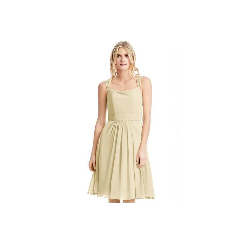 Boda - Champagne Azazie Siena - Chiffon And Lace Illusion Knee Length Dress - The Various Bridesmaids Store