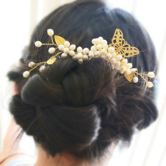 Hochzeit - Butterfly in Ivory Pearls - Freshwater Pearl Filigree Bridal Large Hair Pin