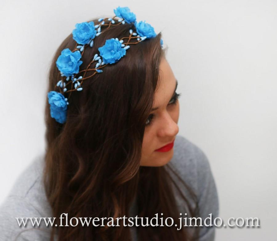 Mariage - Blue Floral Crown, Sky Blue Headband, Malibu blue Bridal Floral Crown, Bridal Hair Wreath, Flower Girl Hair Wreath, Wedding Headband.