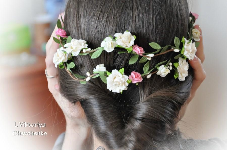 Mariage - Flower Hair Garland Bridal flower crown Wedding Hair Flowers Head Wreath Flower Crown Cherry Blossoms White Bridal Wreath Floral Hair Crown
