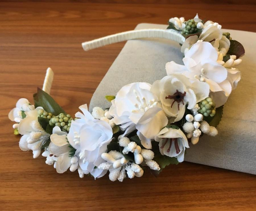 Mariage - Wedding Flower Headband Wedding Crown Bridal White Crown Floral headband Bridal floral crown Bridal Headband Bridesmaid flower headpiece