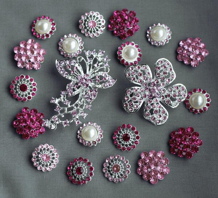 Mariage - 20 Pink Rhinestone Button Brooch Assorted Embellishment Pearl Crystal Brooch Bouquet Supply Light Rose Fuchsia Hot Pink BT154