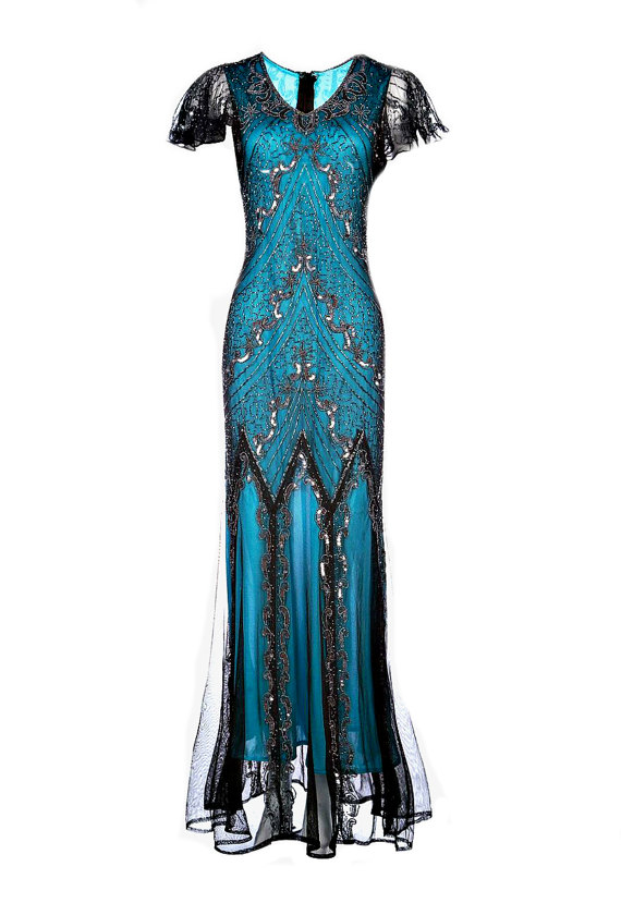 Wedding - Evelyn Blue Beaded Flapper Dress, 20s Great Gatsby Dress, Downton Abbey, Blue Sequin Maxi Dress, Evening Wedding Gown, Plus Size. M-XXXL