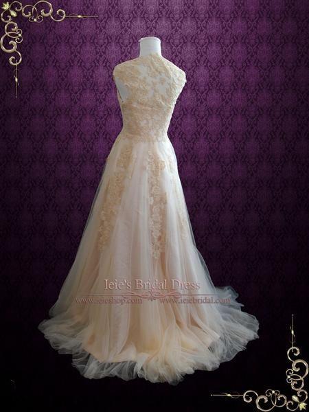 Mariage - Blush Whimsical Beach Lace Wedding Dress