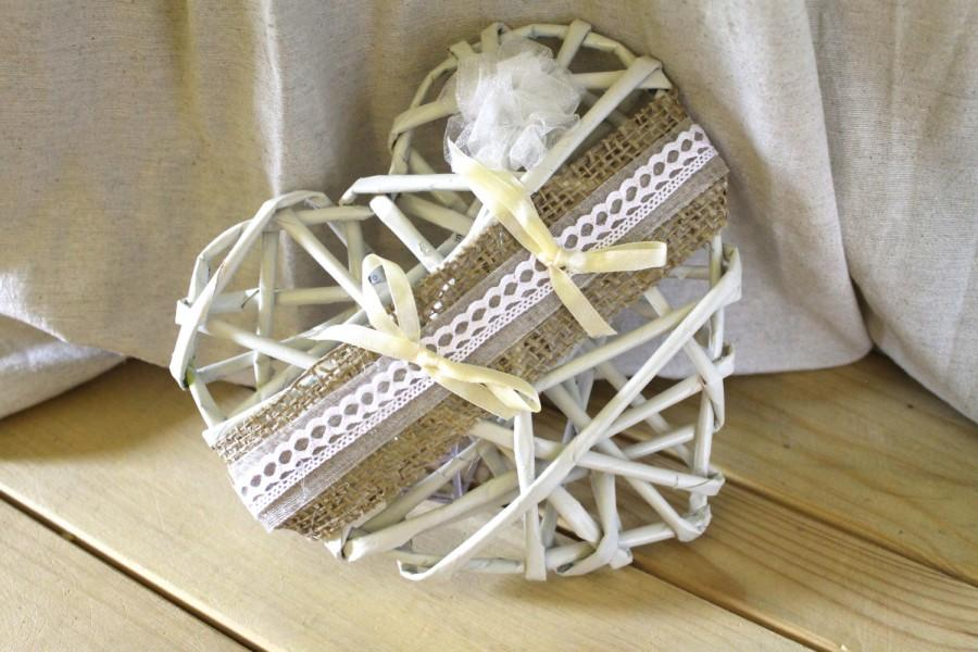 Mariage - Original heart cushion with jute lace and organza