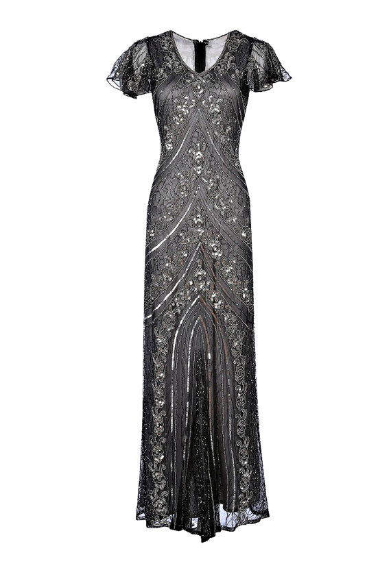 Wedding - Lima Grey Embellished Flapper Dress, 1920s Great Gatsby Dress, Downton Abbey, Wedding Gown, Evening Maxi Dress, Plus Size Dress, S-XXXXL