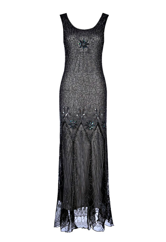 Wedding - Lena Grey Black Beaded Flapper Dress, 1920s Great Gatsby Style Dress, Embellished Art Deco, Downton Abbey, Evening Gown, Plus Size, S-XXXXL