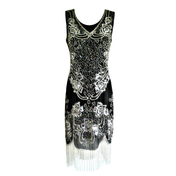Düğün - Silver Tassel Embellished Shift Dress, 20s Style Dress, Beaded Flapper, Short Party Dress, Special Occasion, Indian Festive Dress, Size M