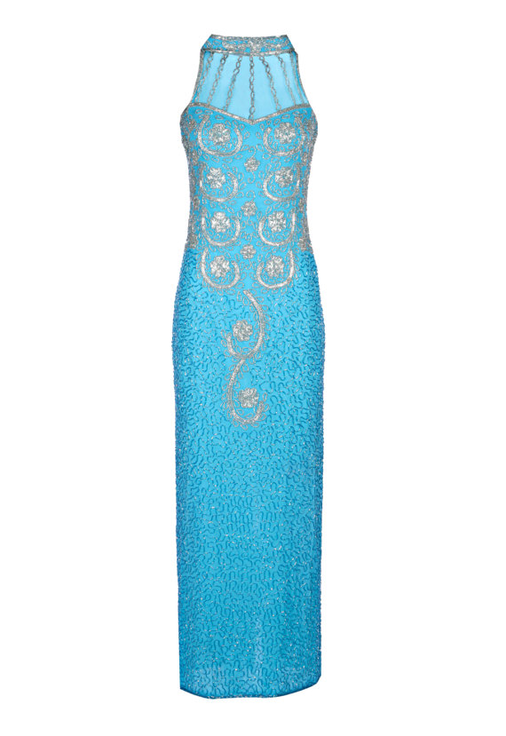 Hochzeit - Vita 1920's Great Gatsby Style Dress, Art Deco Blue Dress, long Embellished Maxi Dress, Wedding Reception, Evening Formal Gown, Medium