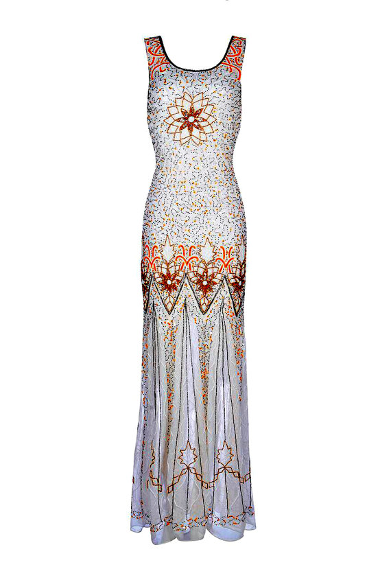 Wedding - Kelly 20s Great Gatsby Style, Wedding Sequin Dress, Art Deco Maxi Dress, Downton Abbey, Off White Beaded Flapper Dress, Evening Gown, M-XL