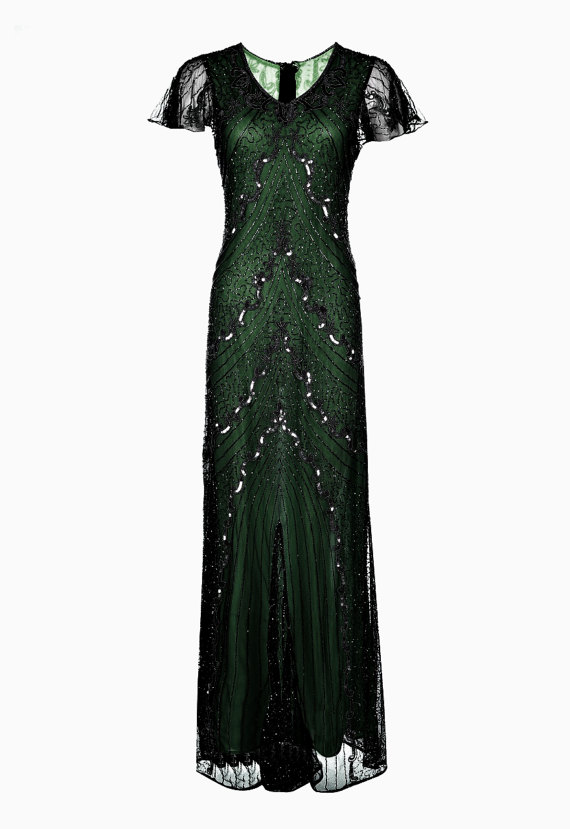 Wedding - SALE Green Embellished Maxi Dress, 1920s Great Gatsby Style, Roaring 20s, Beaded Flapper Dress, Evening Gown, Sequin Dress, Plus Size, XXXL