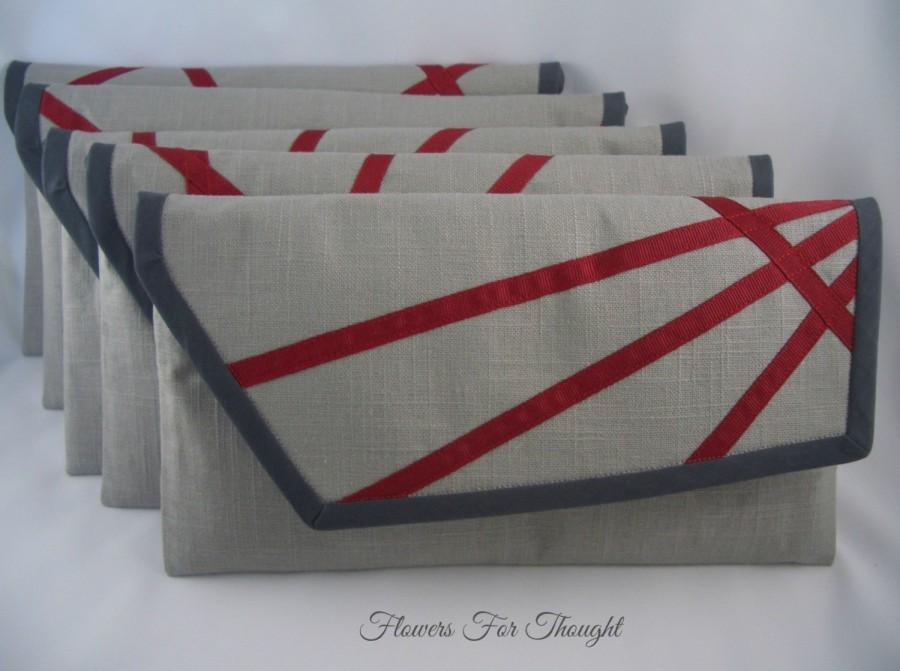 Wedding - Gray Linen Bridesmaid Clutch, Wedding Purse, Geometric Evening Bag, Modern Wearable Art, Set of 5 made to order,FFT original design