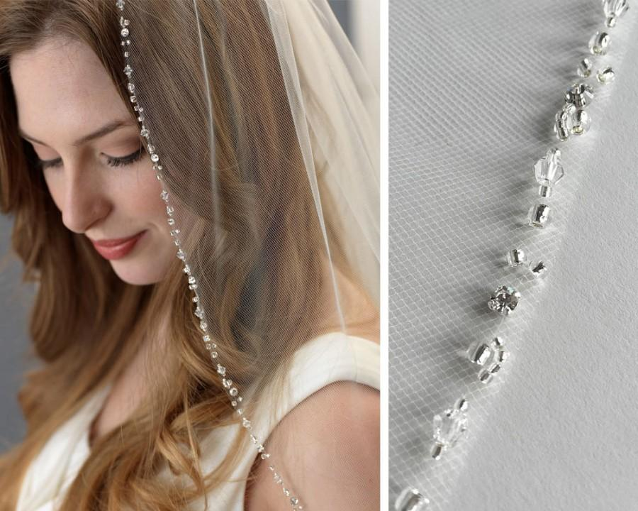 Mariage - Beaded Wedding Veil, Rhinestone Bridal Veil, Ivory Veil, Elbow Length Veil, Fingertip Length Veil, Veil for Bride, Bridal Headpiece ~VB-5061