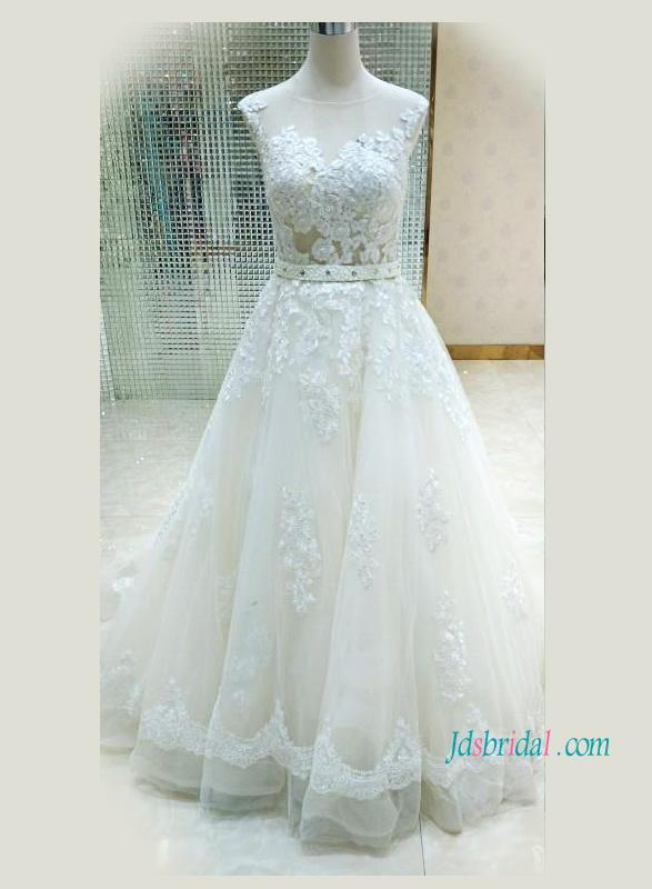 Mariage - Sexy illusion sheer tulle lace back a line wedding dress