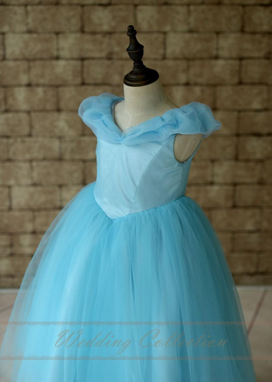 Wedding - Cinderella Disney Princess Dress, Blue Birthday Party Dress, Toddler Girls Cinderella Dress
