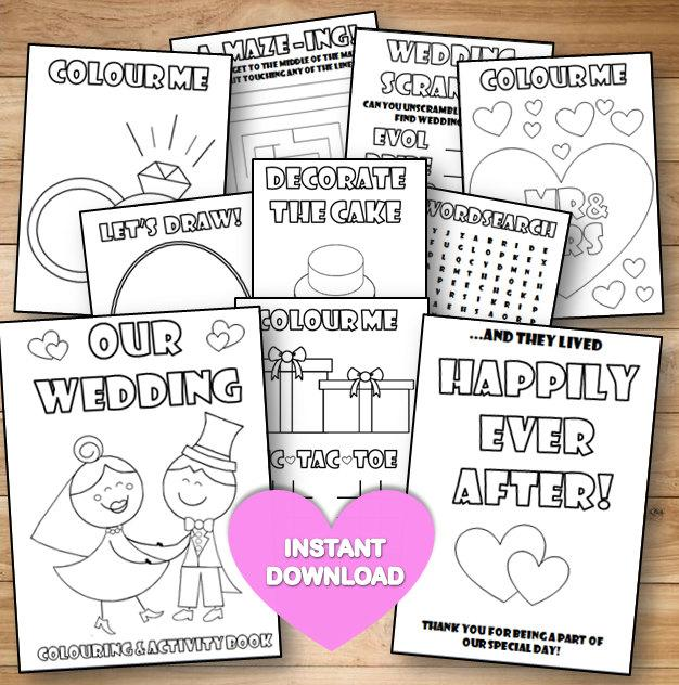 Kids Wedding Colouring & Activity Book- INSTANT DOWNLOAD - PDF Reception  Game,Colouring Pages,Printable Colouring Activity English Spelling #2674956  - Weddbook