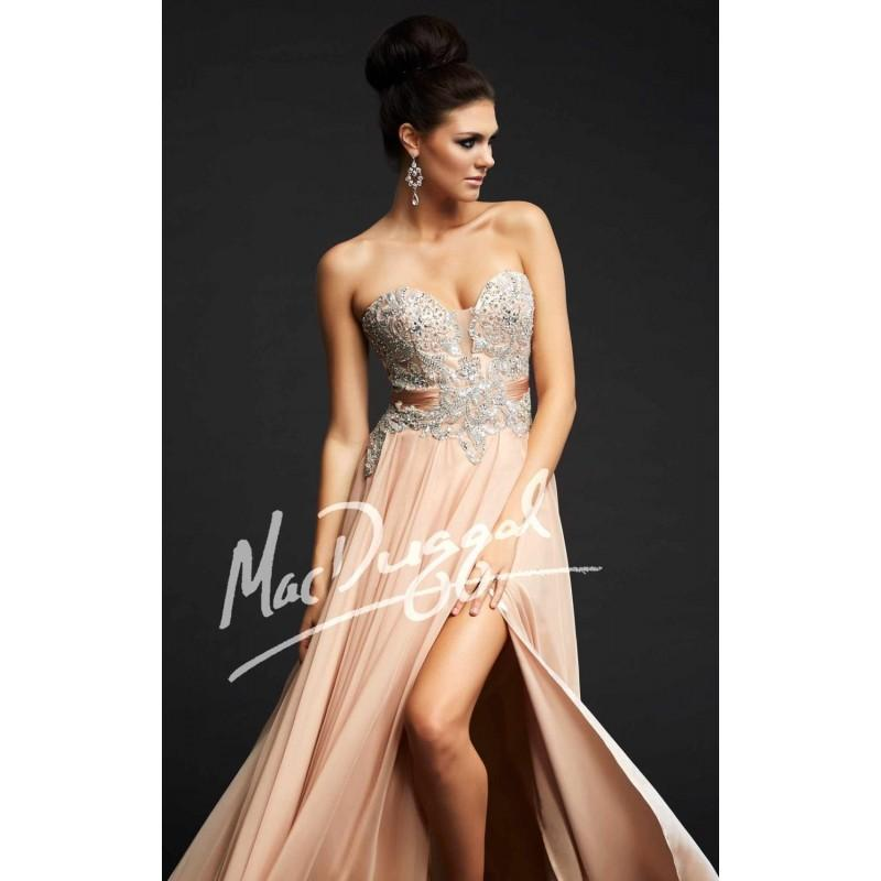 Wedding - Nude/Silver Beaded Slit Gown by Royalty by Mac Duggal - Color Your Classy Wardrobe