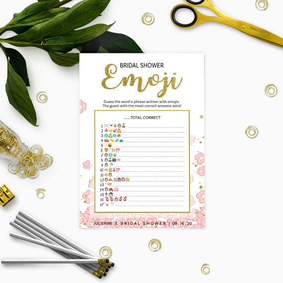 graphic about Emoji Bridal Shower Game Free Printable identify Crimson And Gold Bridal Shower Emoji Sport-Glitter Revolutionary Floral