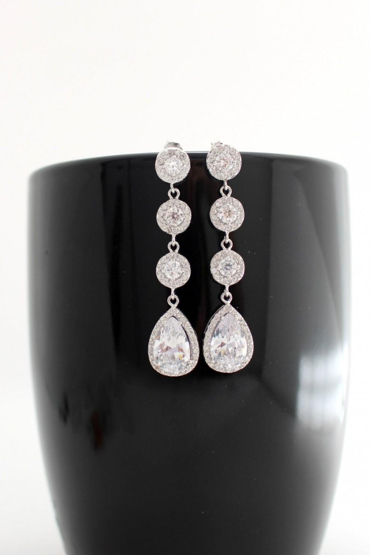 Mariage - Cubic Zirconia Earrings, Statement Wedding Earrings, Wedding Teardrop Earrings, Bridal Statement Earring, Bridal Earing, Bridal Drop Earring