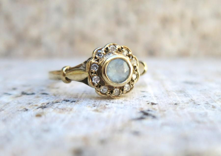 Mariage - Vintage Aquamarine and Diamond Cluster Ring, Vintage Engagement Ring