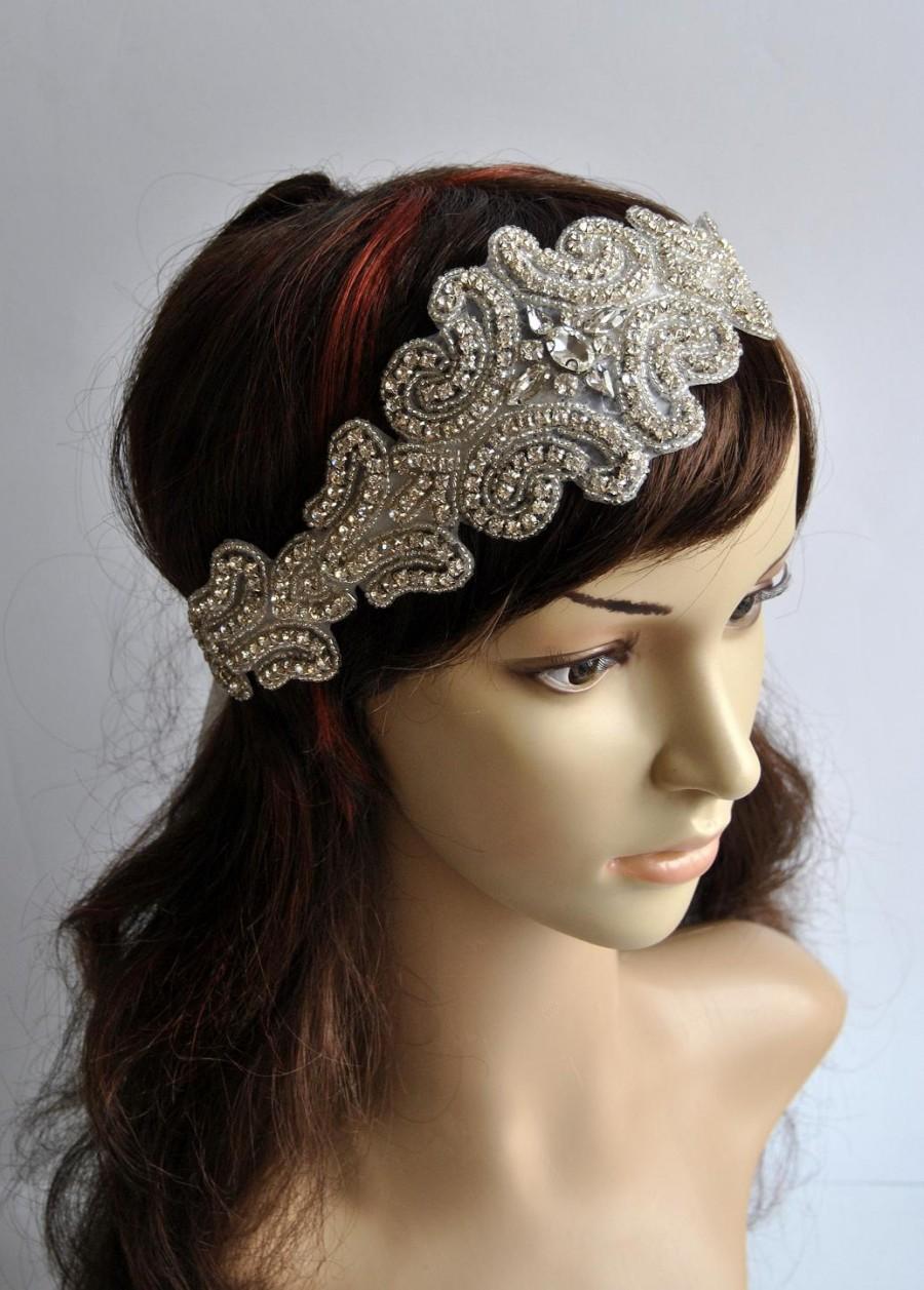 Mariage - Luxury Rhinestone Headband, Bridal Headband, Wedding Headpiece, Flapper 1920s Ribbon tie on Bridal Headband,wedding bridesmaid headband
