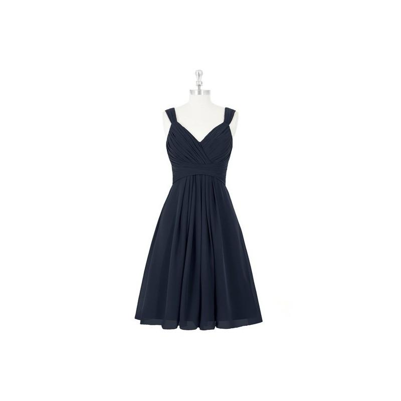 Свадьба - Dark_navy Azazie Clara - Knee Length Chiffon Back Zip V Neck Dress - The Various Bridesmaids Store