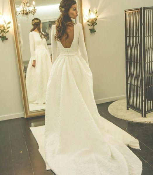 Long Sleeves Open Back Simple Free Custom Handmade Wedding Dress ...