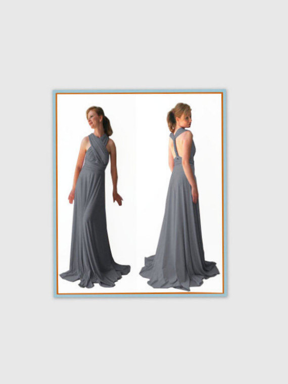 Wedding - Middle gray Infinity Dress - floor length wrap dress