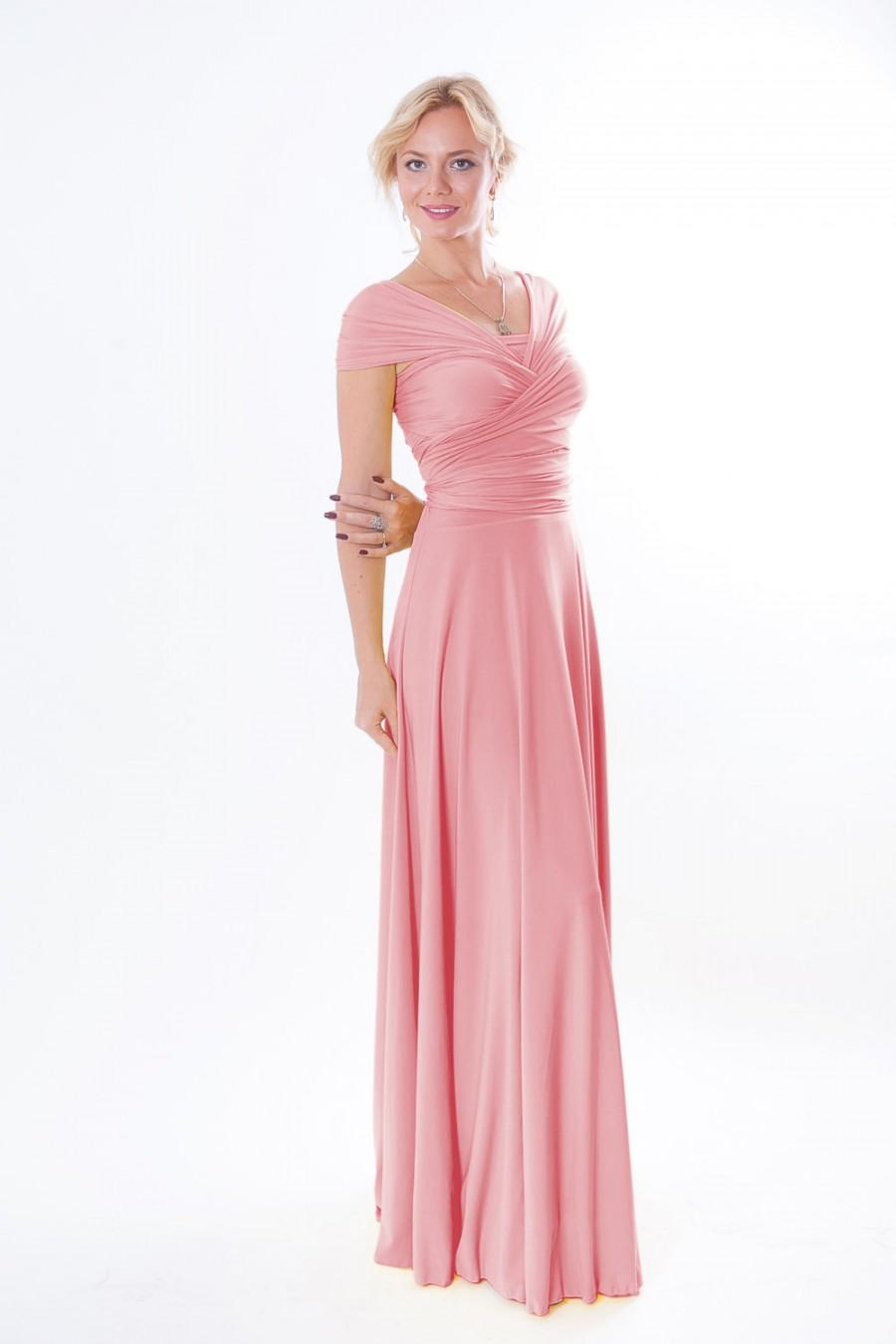 Hochzeit - Pink coral nfinity Dress - floor length  wrap dress