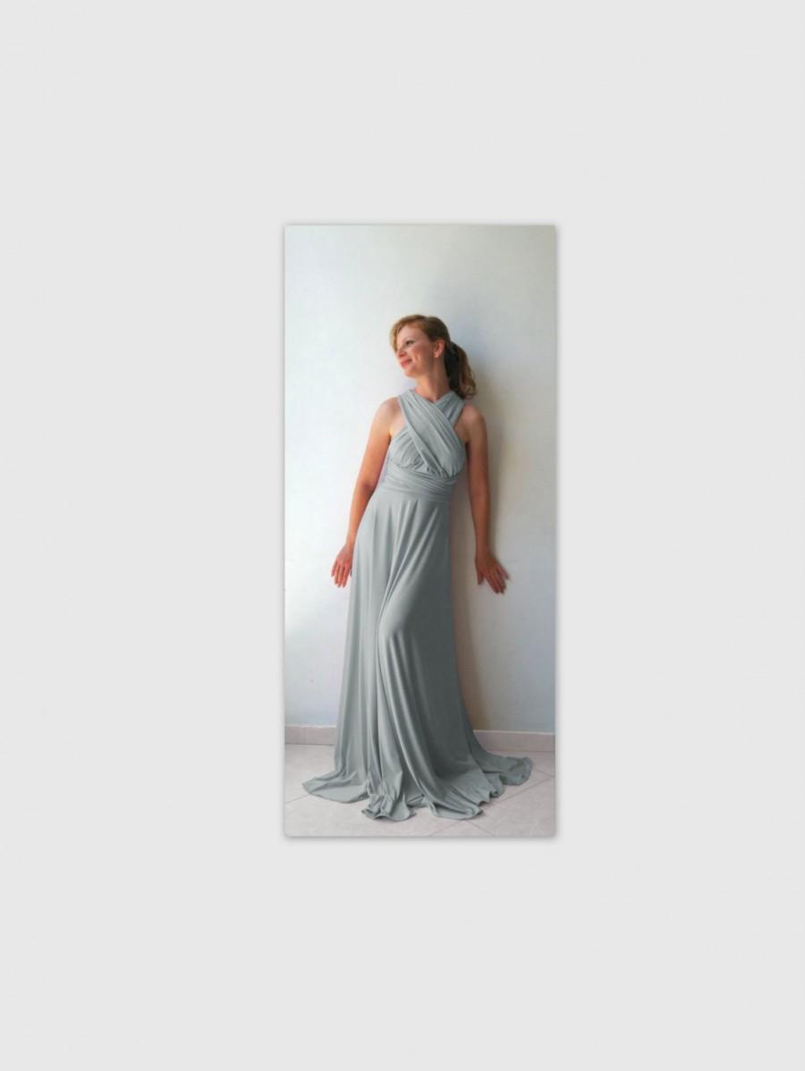 Hochzeit - Light gray Infinity Dress - floor length  wrap dress
