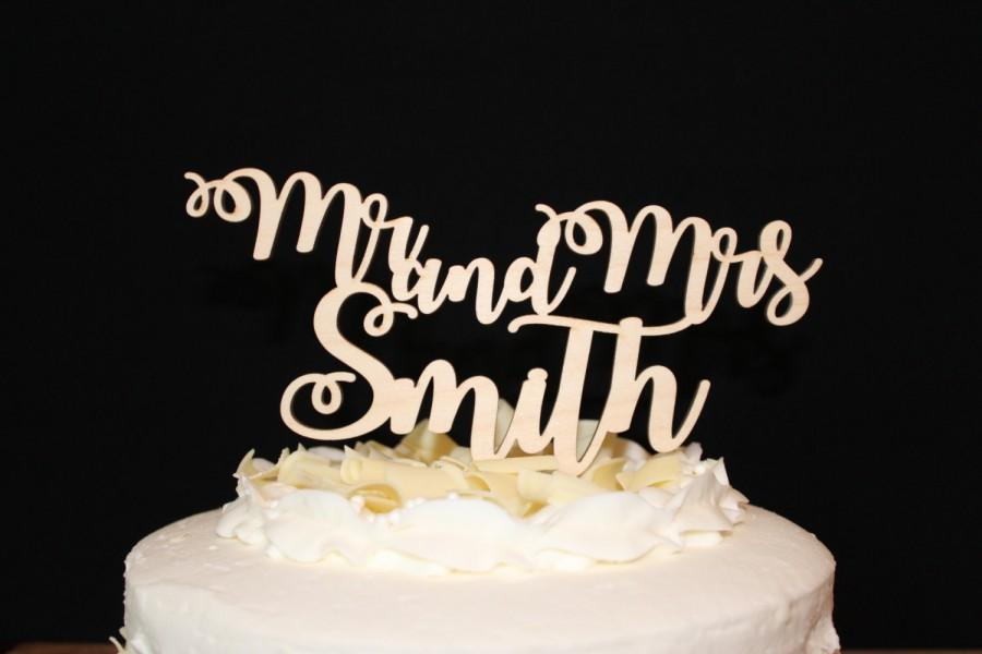 Свадьба - Personalized Mr. and Mrs.  Wooden Wedding Cake Topper