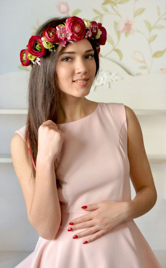 Свадьба - Pink red floral crown Boho flower head wreath bridal Ranunculus crown wedding flower halo prom hair dress dark pink flower girl prom