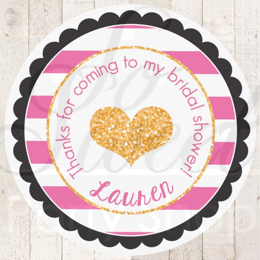 Mariage - Bridal Shower Favor Sticker Labels - Bachelorette Party Thank You Tags - Pink, Black and Gold Heart - Kate Spade Inspired - Set of 24