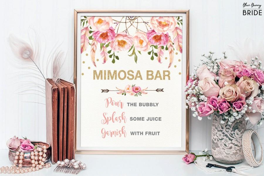 Mariage - Pink and Gold MIMOSA BAR Printable Sign. Floral Bridal Shower Sign. Dreamcatcher Rustic Flower Bridal Shower Decoration. Shower Decor FLO12A