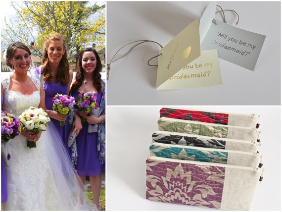 Wedding - Will You be My Bridesmaid Set of 5,    Mismatched Linen Clutches