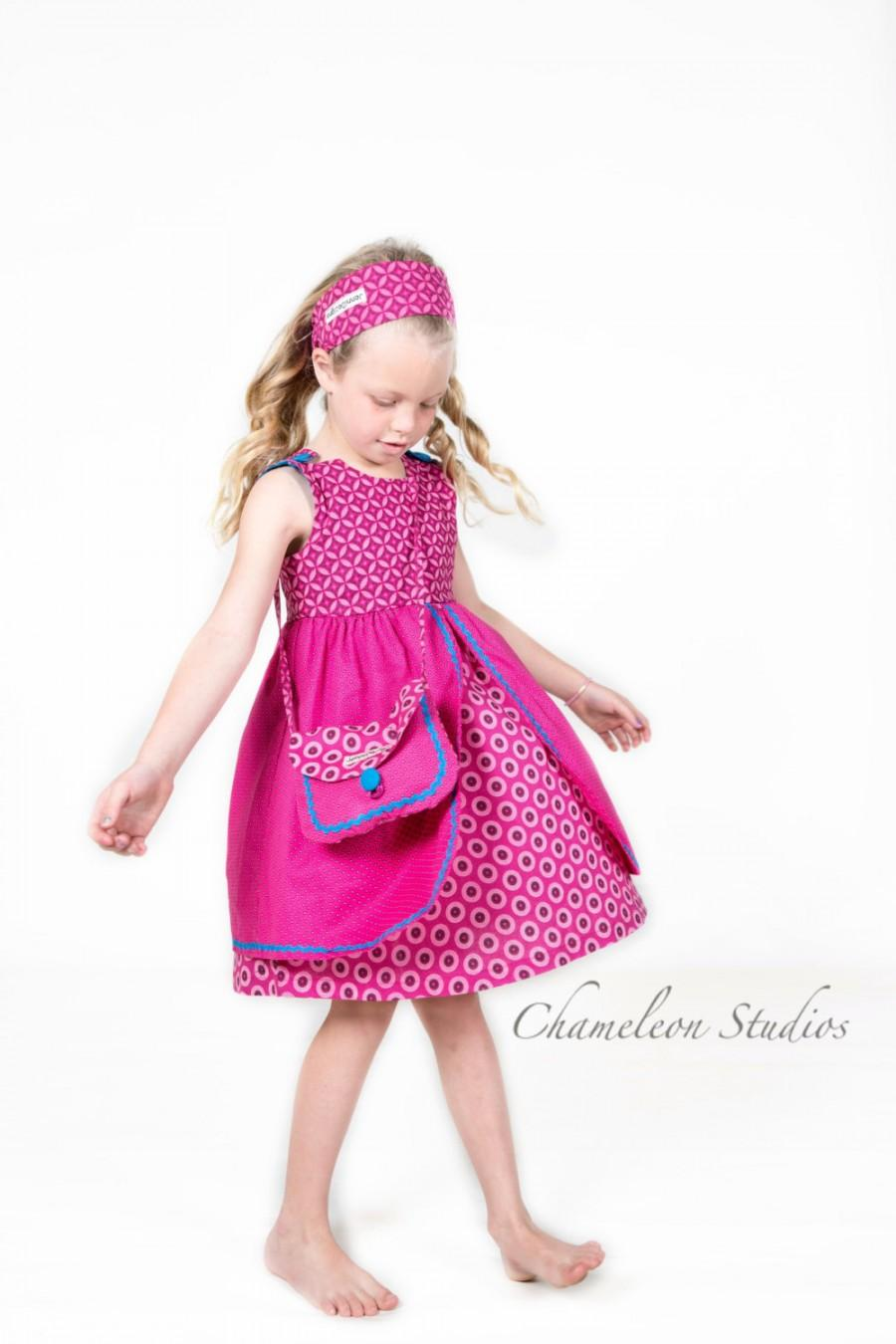 Wedding - Girls Pink African Print Dress - Jabula 'Happy'