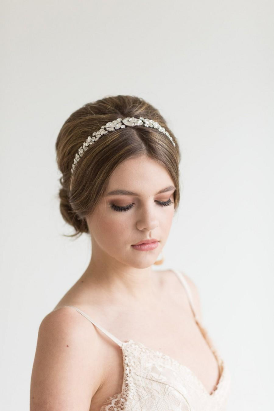زفاف - Bridal Ribbon and Crystal Headband, Wedding Headband, Bridal Headband